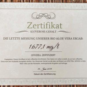 Aloe Vera Zertifikat Vorderseite, DIN A5